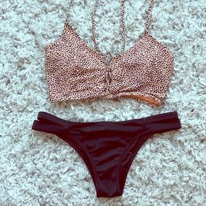 Cheetah Print Pink & Black Bikini Top
